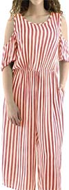 Fashion Apparel FT82203-Coral - Cold-Shoulder Crop Style Womens Striped Jumpsuit