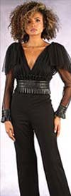 For Her 81594 - Ruffle Cuff Sheer Sleeve V-Neck Jumpsuit
