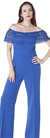 For Her 8587 - Ladies Jumpsuit With Off-Shoulder Lace Overlay