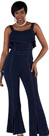 For Her 8762-Navy - Ladies Jumpsuit With Adjustable Straps And Front Slit Cuffs
