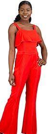 For Her 8762-Red - Ladies Jumpsuit With Adjustable Straps And Front Slit Cuffs