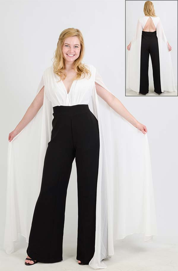 FT Inc CH1712 - Womens Two-Tone Jumpsuit With Long Cape Sleeves