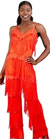 FT Inc CH18009 - Womens Fringe Design Jumpsuit With Adjustable Spaghetti Straps