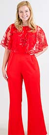 FT Inc CH18050 - Womens Beaded Lace Popover Jumpsuit