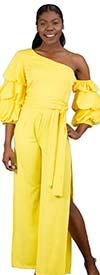 FT Inc D0045-Yellow - Ladies Off Shoulder Ruched Jumpsuit With Split Leg Design