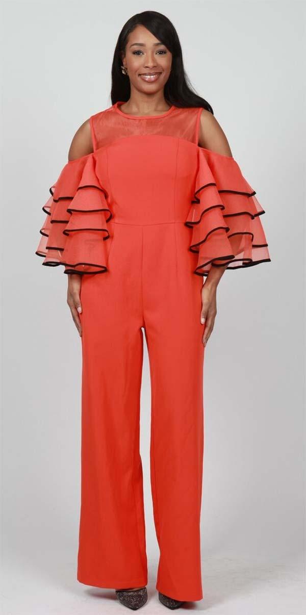 FT Inc J0025 - Ladies Cold Shoulder Flutter Sleeve Jumpsuit