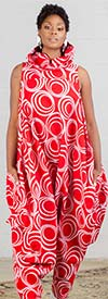 KaraChic 251NP-Red/White Print - Womens African Inspired Print Sleeveless Roll Neck Convertible Jumpsuit / Dress