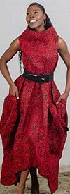 KaraChic 251NP-Red/Black Print - Womens African Inspired Print Sleeveless Roll Neck Convertible Jumpsuit / Dress