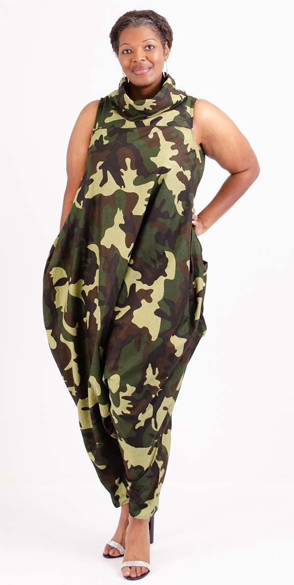 KaraChic 251NP-GreenCamo - Womens Camouflage Print Sleeveless Roll Neck Convertible Jumpsuit / Dress