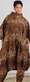 KaraChic 251S-Leopard - Womens Animal Print Bell Sleeve Roll Neck Bottom Zip Jumpsuit