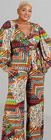 KaraChic CHH20020 - Wide Leg Print Knit Jumpsuit With V-Neckline