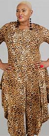 KaraChic CHH20033 - Flare Leg Leopard Print Knit Jumpsuit With Zip Front