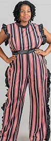 Rose Collection RC360 - Multi-Stripe Design Womens Jumpsuit With Ruffle Trim Details