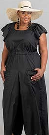 Step in Style AA18904 - Ladies Ruffle Top Jumpsuit With Pockets