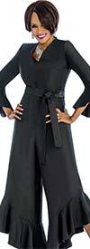 Terramina 7675 - Vee Neckline Flounce Hem Womens Jump Suit With Sash