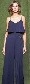 Why Dress-B181084-Navy - Womens Pearl Adorned Strap Style Jumpsuit