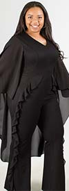 Why Dress D180336 - Womens Jumpsuit With Ruffle Cape Style Design