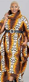 KaraChic 251S-Tiger - Womens Animal Print Bell Sleeve Roll Neck Bottom Zip Jumpsuit