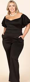 KarenT-9141-Black - Womens Puff Sleeve Jumpsuit In Off-Shoulder Design
