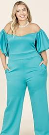 KarenT-9141-Turquoise - Womens Puff Sleeve Jumpsuit In Off-Shoulder Design