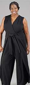 Shelby & Palmer 9J710-Black - Sleeveless Womens Jumpsuit With Caped Leg Design And Belt