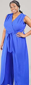 Shelby & Palmer 9J710-Blue - Sleeveless Womens Jumpsuit With Caped Leg Design And Belt