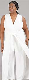 Shelby & Palmer 9J710-Ivory - Sleeveless Womens Jumpsuit With Caped Leg Design And Belt