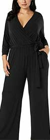Alfani T80184W - Surplice Neckline Long Sleeve Ladies Jumpsuit With Pockets And Sash