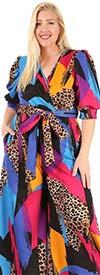 KarenT-9101-Multi Blue - Surplice Neckline Short Puff Sleeve Ladies Print Jumpsuit With Sash