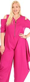 KarenT-9109-Fuchsia - Womens Cold Shoulder Jumpsuit With Pockets And Zipper Placket