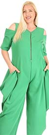 KarenT-9109-Green - Womens Cold Shoulder Jumpsuit With Pockets And Zipper Placket