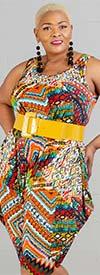KaraChic CHH20054 - Womens Multi-Color Print Sleeveless Jumpsuit