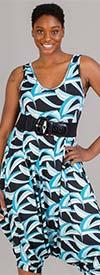 KaraChic CHH20055-BlueBlack - Womens Sleeveless Print Jumpsuit