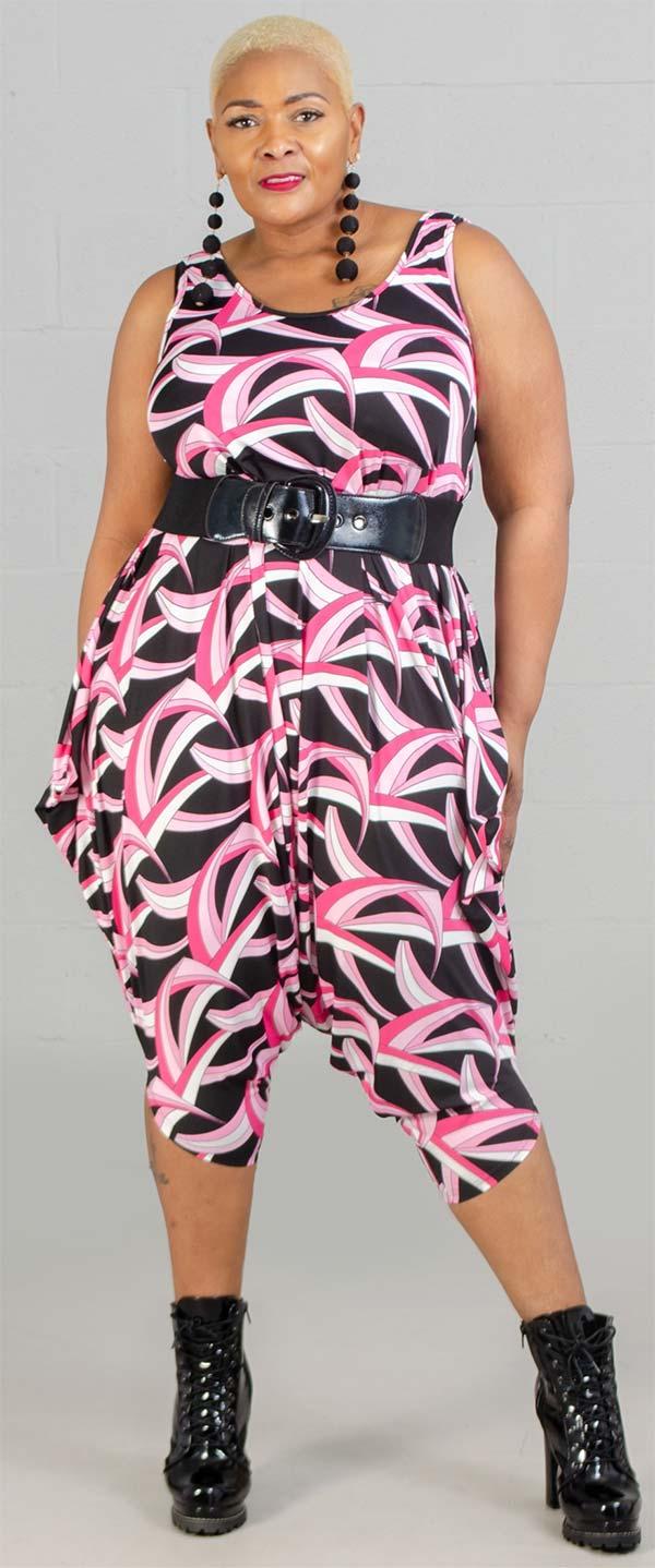 KaraChic CHH20055-PinkBlack - Womens Sleeveless Print Jumpsuit