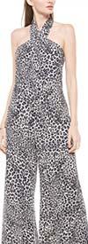 Why Dress - B180849 - Leopard Print Wide Leg Halter Top Womens Jumpsuit