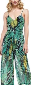 Why Dress - B190452 - Womens Sleeveless Jumpsuit In Tropical Style Print Design