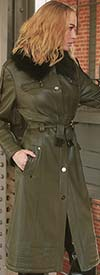 Just Vinci 16001 Novelty Leatherette Fabric Coat With Stretchable Belt & Detachable Faux Fur Collar