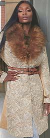 Just Vinci 16002 Novelty Fabric Coat Dress With Leatherette Trim & Detachable Faux Fur Collar