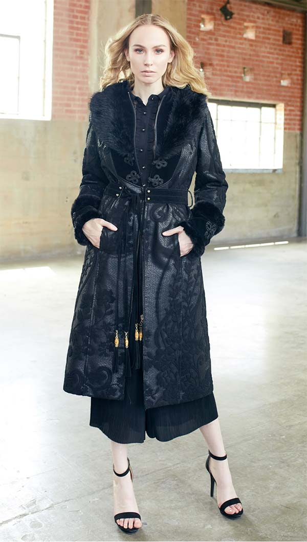 Just Vinci 16004 Novelty Velvet Fabric Coat Dress With Embroidery Trim And Detachable Faux Fur Collar
