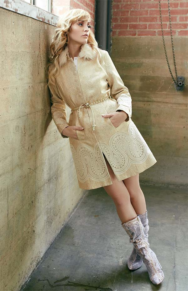 Just Vinci 16006 Coat Dress With Embroidered Applique And Detachable Faux Fur Collar