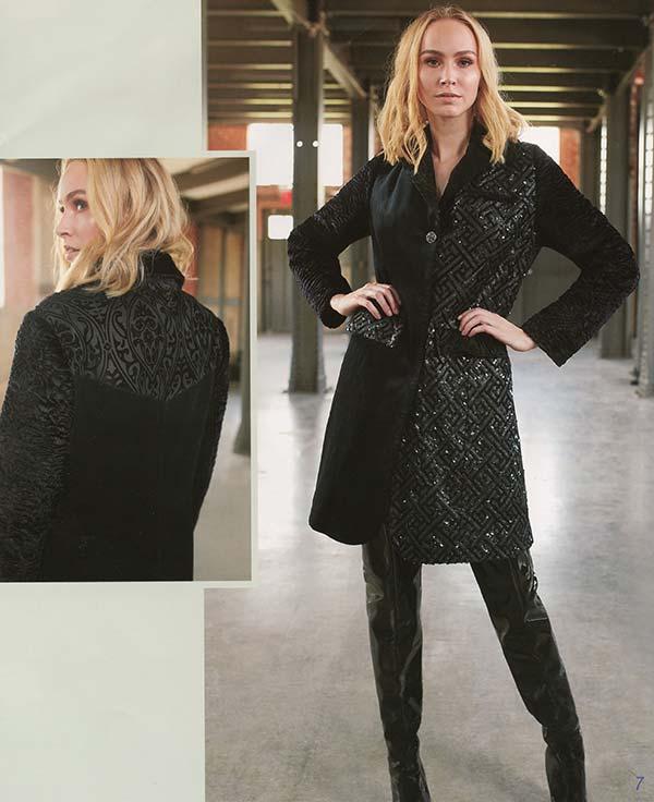 Just Vinci 16007 Exclusive Multi Fabric Coat With Snaps Enclosure