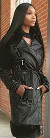 Just Vinci 16008 Leatherette Fabric Coat Trimmed With Faux Fur & Novelty Velvet