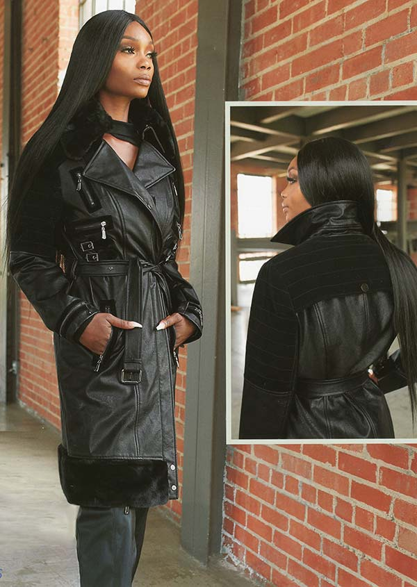 Just Vinci 16008 Leatherette Fabric Coat Trimmed With Faux Fur & Novelty Velvet