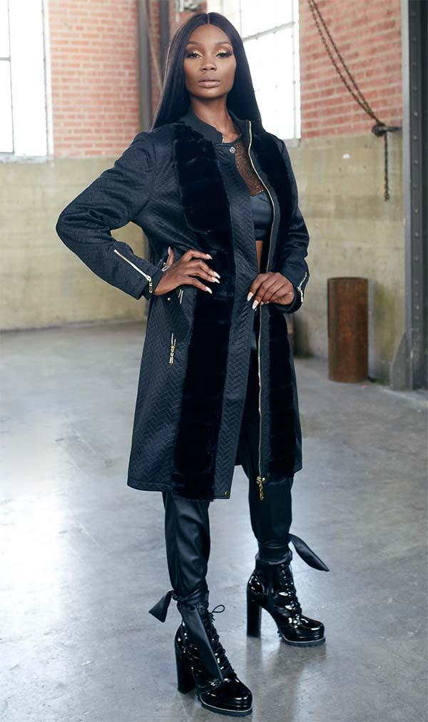 Just Vinci 16009 Novelty Fabric Coat Dress With Faux Fur Trim