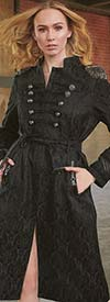 Just Vinci 16010 Novelty Fabric Coat Dress With Mixed Media Epaulets And Metallic Fringe Trim