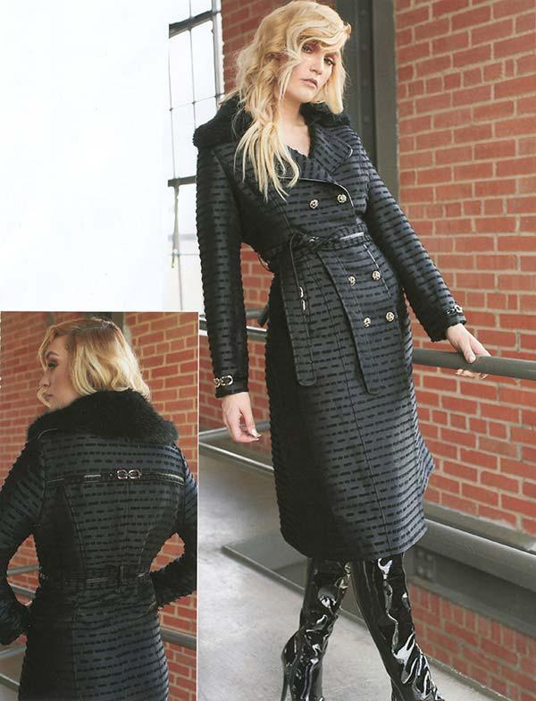Just Vinci 16011 Womens Coat With Leatherette Trim And Detachable Faux Fur Collar