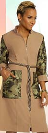 Just Vinci 16013 Zipper Front Dress With Camouflage Pattern Accents And Chain Belt
