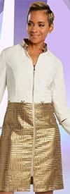 Just Vinci 16014 Zipper Front Textured Fabric Dress Set With Novelty Trim Hardware