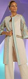 Just Vinci 16019 Womens Pant Suit With  Long Jacket Featuring Applique Detail Sleeves