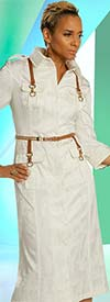Just Vinci 16026 Johnny Collar Dress In Textured Fabrics With Novely Trims And Belt